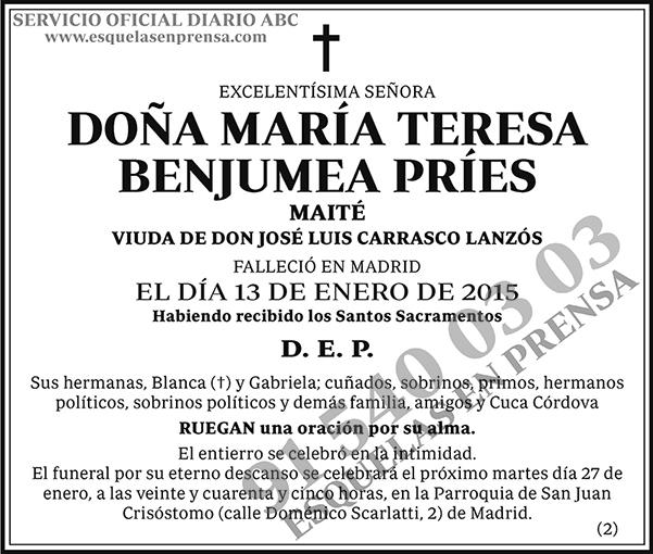 María Teresa Benjumea Príes